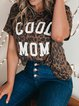 Leopard Short Sleeve Crew Neck Letter Printed T-Shirts