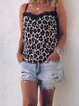 Casual sexy vacation leopard strap T-shirt