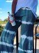 Blue Cotton-Blend Plain Casual Pants