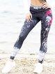 Black Sports Floral-Print Pants