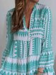Green Cotton Long Sleeve Tribal Dresses