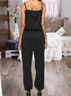 Casual Plain Sleeveless Crew Neck Pockets Jumpsuits