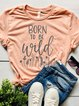Pink O-Neck Letter Casual Shirts & Tops