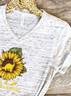 Plus size Sunflower Short Sleeve Shirts & Tops