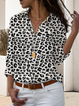 Leopard Long Sleeve Turn-Down Collar Shirts & Tops