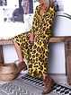 Casual Cotton-Blend Leopard Long Sleeve Dresses