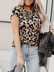 Casual Crew Neck Cotton-Blend Leopard Shirts & Tops