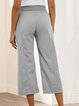 Gray Casual Plain Lace-uo Pockets Capri Pants