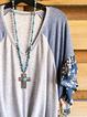 Paneled V Neck Short Sleeve Floral Shirts & Tops