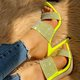 Yellow Summer Rhinestone Artificial Leather High Heel Slippers