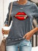 Gray Patchwork Long Sleeve Shirts & Tops