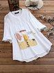 Cartoon Cute Print Button Plus Size Shirt