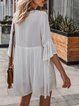 V Neck White A-Line Date Boho Embroidered Dress
