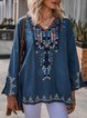 Lake Blue Long Sleeve Floral Embroidery Top