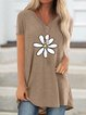 Floral Cotton-Blend Short Sleeve Shirts & Tops