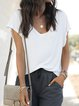 White Solid Short Sleeve V Neck T-Shirts