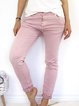Pink Solid Casual Cotton Buttoned Pants