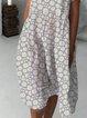 Light Gray Round Neck Printed Short Sleeve Dresses