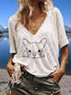Animal V Neck Short Sleeve Casual Shirts & Tops
