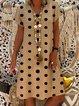 Polka Dots Short Sleeve V Neck Dresses