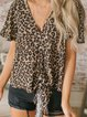 Leopard Printed Short Sleeve V Neck Casual Blouse