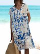 Plus Size Midi Dress Pockets Summer Printed Dresses