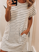 Beige Crew Neck Casual Cotton Printed Dresses