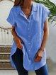 Solid Summer Blouses Women Short Sleeve Shirts