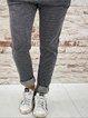 Stripe-Gray Casual Color-Block Pants