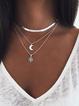 Geometric Moon Pendant Necklace