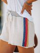 Apricot Drawstring Cotton-Blend Casual Pants