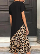 Sunflower & Leopard Printed Casual Short Sleeve Maxi Dress