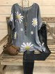 Casual Printed Sun Flower Cotton Round Neck Shirts & Tops