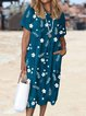 Women Floral Pockets Shift Summer Casual Dresses