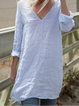 Casual Plus Size V Neck Long Shirts Tops