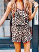 Leopard Leopard-Print Leopard V Neck Sleeveless One-Pieces