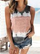 Printed Coloful Sleevelss Crew Neck Casual Vest