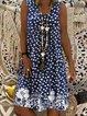 V Neck Holiday Polka Dots Printed Dresses