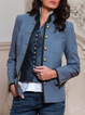 Blue Long Sleeve Stand Collar Outerwear