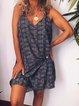 Black Blue Printed Sleeveless Cotton-Blend Geometric Dresses