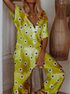 Casual loose short sleeve printed little daisy jumpsuit