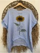 Retro loose basic simple casual sunflower print summer cotton and linen top