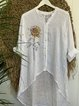 Retro loose basic simple casual sunflower print summer cotton and linen shirt