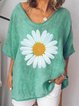 Green Simple Printed V Neck Short SleeveTops
