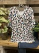 White Short Sleeve V Neck Printed Tops