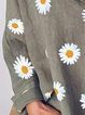 Casual Plus Size Daisy Floral Printed V Neck Shirts Tops