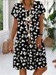 Daisy Print Short Sleeve V Neck Casual Dresses