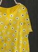 Retro casual little daisy round neck short sleeve top