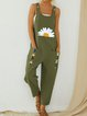 Dark Green Casual Cotton Shift One-Pieces
