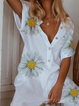White Casual Floral-Print Cotton One-Pieces